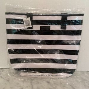 NWT Sephora Brand Logo Tote Bag Black White Stripe
